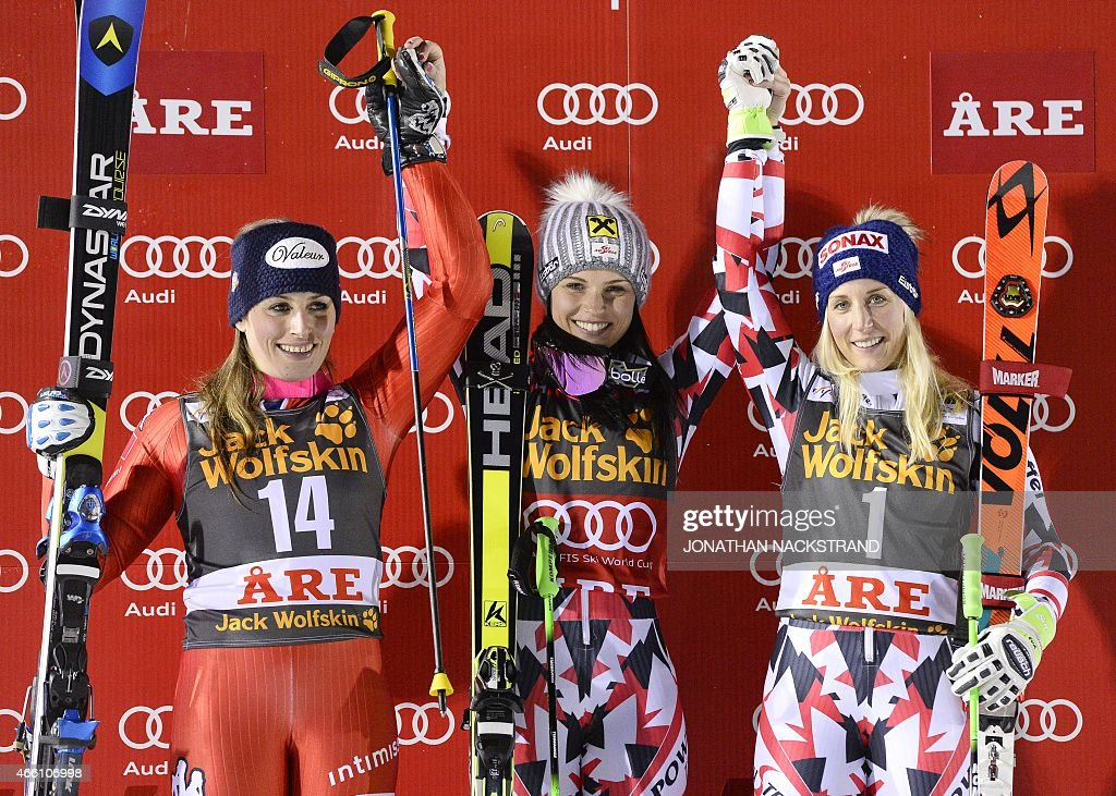 ) Italy's <a gi-track='captionPersonalityLinkClicked' href=/galleries/search?phrase=Nadia+Fanchini&family=editorial&specificpeople=792695 ng-click='$event.stopPropagation()'>Nadia Fanchini</a>, Austria's <a gi-track='captionPersonalityLinkClicked' href=/galleries/search?phrase=Anna+Fenninger&family=editorial&specificpeople=4045781 ng-click='$event.stopPropagation()'>Anna Fenninger</a> and AustriaÕs Eva-Maria Brem react during the winner's ceremony after the second run of the FIS Alpine Ski World Cup women's giant slalom in Are, Sweden, on March 13, 2015.