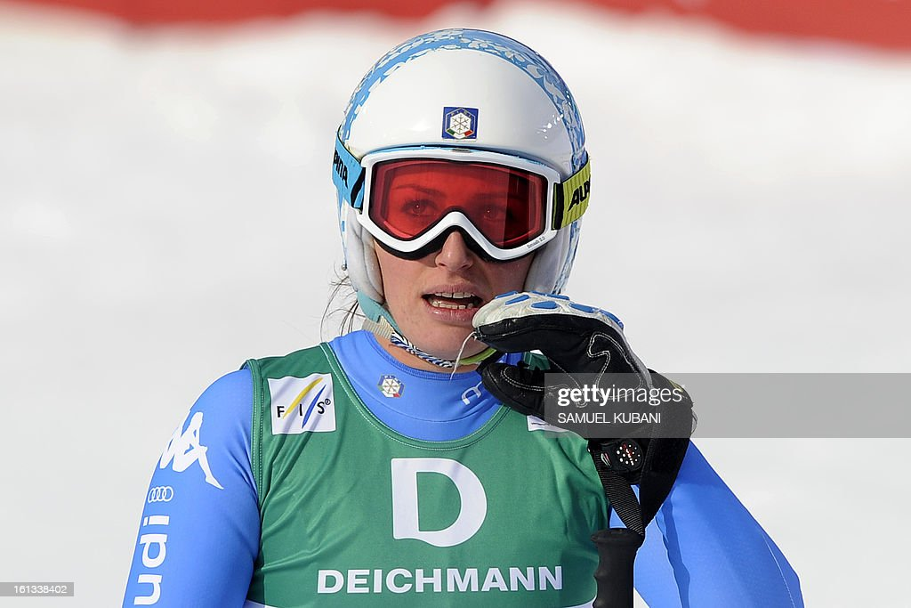 Italy's Nadia Fanchini reacts at finish line during the women's downhill event of the 2013 Ski World Championships in Schladming, Austria on February 10, 2013.