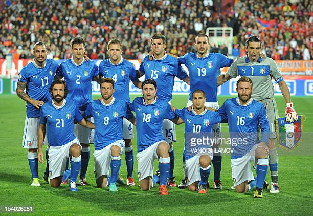 Italy's national football team players pose for a photo before the FIFA World Cup 2014 qualifier match between Italy and Armenia in Yerevan on...