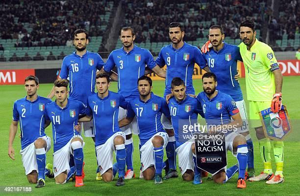 Italy's national team players Marco Parolo Giorgio Chiellini Graziano Pelle Leonardo Bonucci Gianluigi Buffon and Mattia De Sciglio Stephan El...