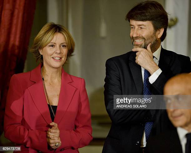 Italy's newly appointed Cultural Heritage and Activities Minister Dario Franceschini and Health Minister Beatrice Lorenzin attend the swearing in...
