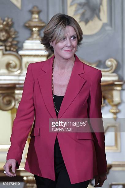 Italy's newly appointed Health Minister Beatrice Lorenzin attends the swearing in ceremony of the new government on December 12 2016 at the Quirinale...