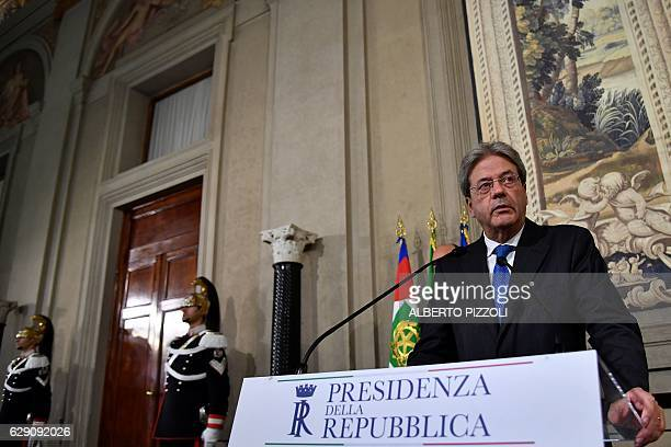 Italy's newly named Prime Minister Paolo Gentiloni holds a press conference in Rome on December 11 2016 Gentiloni was named as Italy's new prime...