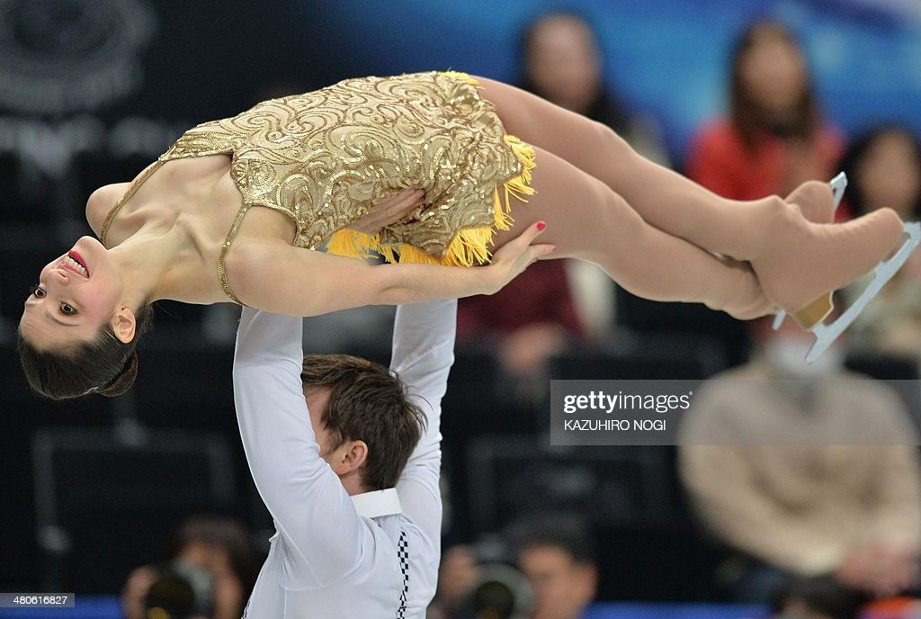 Italy's pair Stefania Berton and Ondrej Hotarek perform during the pairs short program at the world figure skating championships in Saitama, on March 26, 2014.