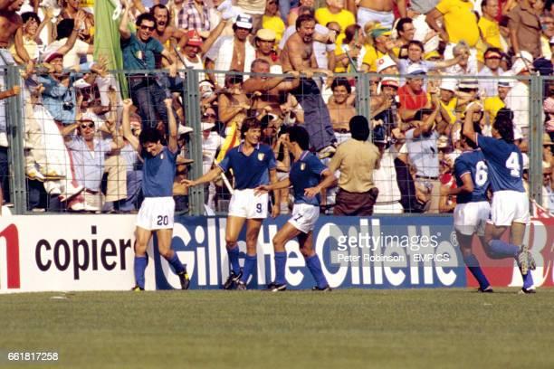 Italy's Paolo Rossi celebrates his winning goal with teammates Giancarlo Antognoni Gaetano Scirea Claudio Gentile and Antonio Cabrini