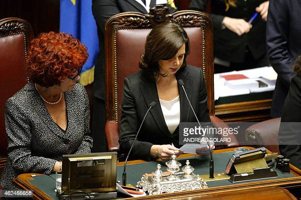 Italy's Parliament speaker Laura Boldrini reads a ballot during a vote to select a new president at the Italian Parliament in Rome on January 29...