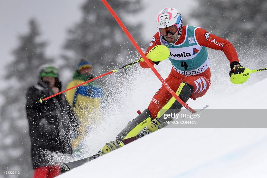 Italy's <a gi-track='captionPersonalityLinkClicked' href=/galleries/search?phrase=Patrick+Thaler&family=editorial&specificpeople=807782 ng-click='$event.stopPropagation()'>Patrick Thaler</a> clears a gate during the first run of the men's slalom race at the FIS Alpine Skiing World Cup in Adelboden on January 11, 2015.
