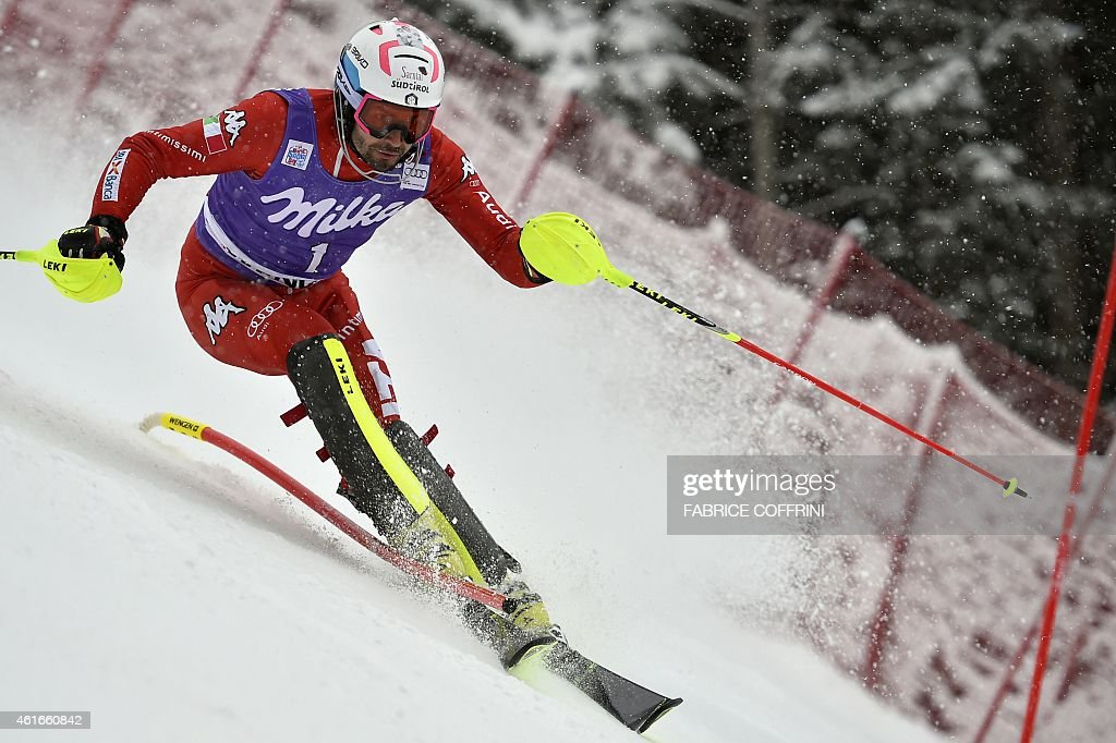 Italy's <a gi-track='captionPersonalityLinkClicked' href=/galleries/search?phrase=Patrick+Thaler&family=editorial&specificpeople=807782 ng-click='$event.stopPropagation()'>Patrick Thaler</a> competes in the FIS Ski World Cup Men's Slalom in Wengen on January 17, 2015.