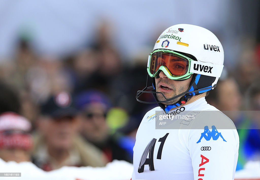 Italy's Patrick Thaler reacts after competing at the second run of the FIS World Cup men's slalom race on January 27, 2013 in Kitzbuehel, Austrian Alps. Austrian Marcel Hirscher won the race, German Felix Neureuther placed second and Croatian Ivica Kostelic placed third.
