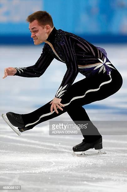 Italy's Paul Bonifacio Parkinson performs in the Men's Figure Skating Team Free Program at the Iceberg Skating Palace during the Sochi Winter...
