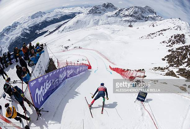 Italy's Peter Fill starts the free fall during the men's downhill practice at the FIS Alpine Ski World Cup Finals in St Moritz on March 15 2016 / AFP...