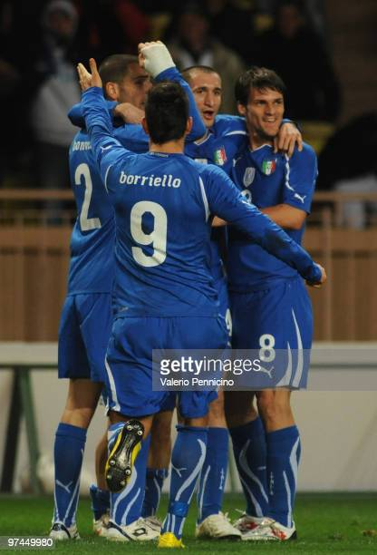Italy's players celebrate the goal of Giorgio Chiellini before canceling during the International Friendly match between Italy and Cameroon at Louis...