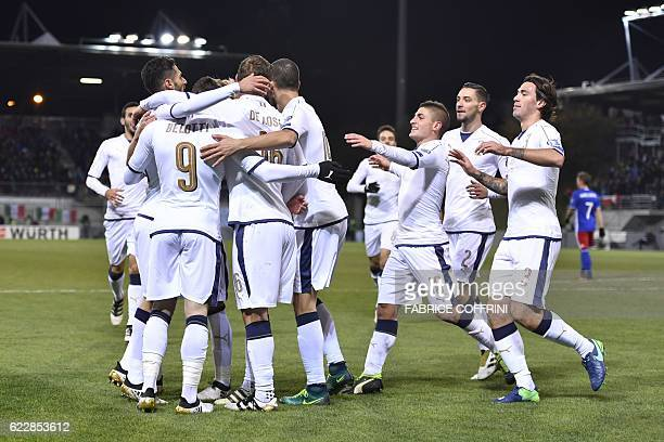 Italy's players celebrates after the first goal during the FIFA World Cup 2018 European group G Qualifiers football match beetween Liechtenstein and...