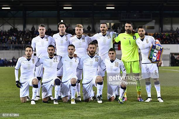 Italy's players second row forward Andrea Belotti defender Alessio Romagnoli forward Ciro Immobile defender Leonardo Bonucci goalkeeper Gianluigi...