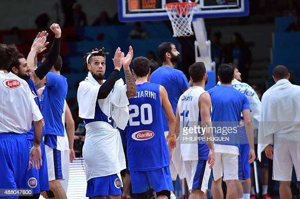 Italy's point guard Daniel Hackett reacts after Italy defeated Israel in their round of 16 basketball match at the EuroBasket 2015 in Lille northern...