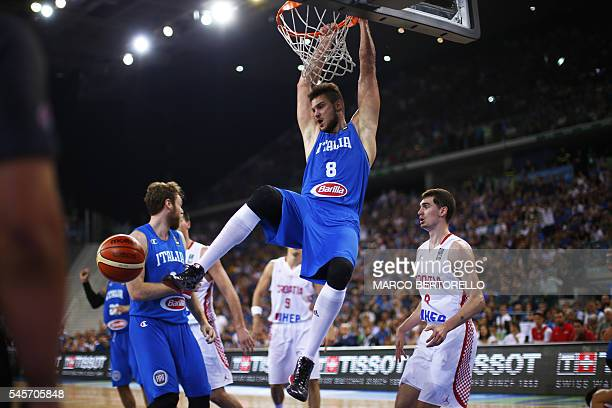 Italy's power forward Danilo Gallinari scores during the final match of the Olympic Qualifying Tournament Croatia Vs Italy at PalaIsozaki in Turin on...