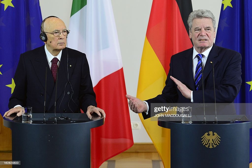 Italy's president Giorgio Napolitano (L) and German President Joachim Gauck attend a press conference on February 28, 2013 at Bellevue palace in Berlin during an official visit. Napolitano has cancelled planned talks with the man bidding to unseat German Chancellor Angela Merkel after he called two of the candidates in Italian elections 'clowns.'