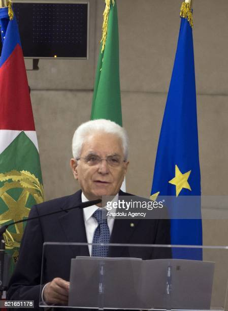 Italy's President Sergio Mattarella delivers a speech during the 12th Conference of the Ambassadors of Italy at the Farnesina Italian Foreign...