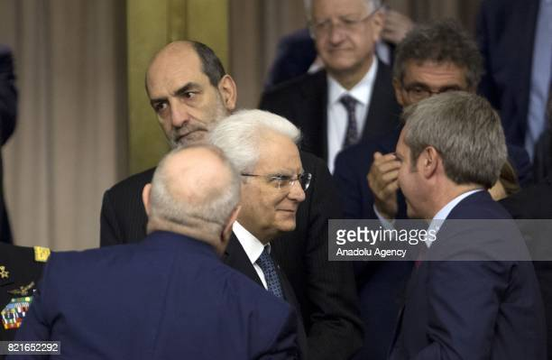 Italy's President Sergio Mattarella leaves after speaking during the12th Conference of the Ambassadors of Italy at the Farnesina Italian Foreign...