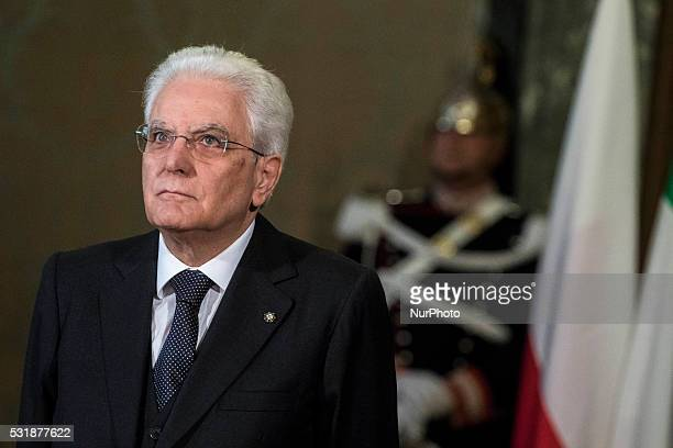 Italy's President Sergio Mattarella wait for the arrival of Polish President Andrzej Duda at the Quirinale Palace in Rome Italy on May 17 2016