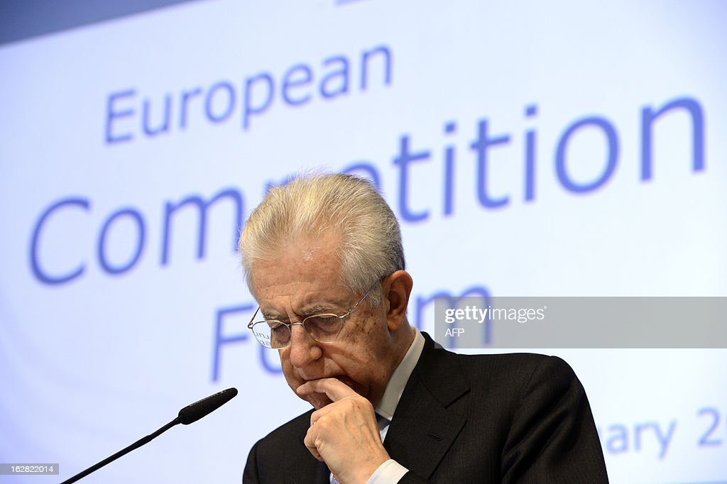 Italy's Prime Minister Mario Monti ponders while addressing the European Competition Forum held at the EU Commission headquarter in Brussels, on February 28, 2013.