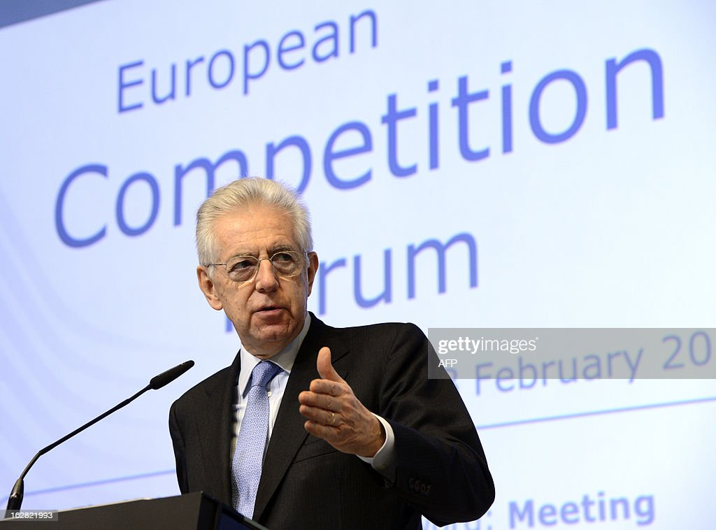 Italy's Prime Minister Mario Monti speaks during the European Competition Forum held at the EU Commission headquarter in Brussels, on February 28, 2013.