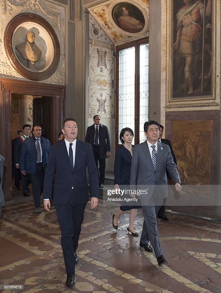 Italy's Prime Minister Matteo Renzi (L) and Japanese Prime Minister Shinzo Abe meet at Palazzo Vecchio in Florence, Italy on May 2, 2016 during Shinzo Abe's visit prior to 150th anniversary of starting of diplomatic relations between Japan and Italy.