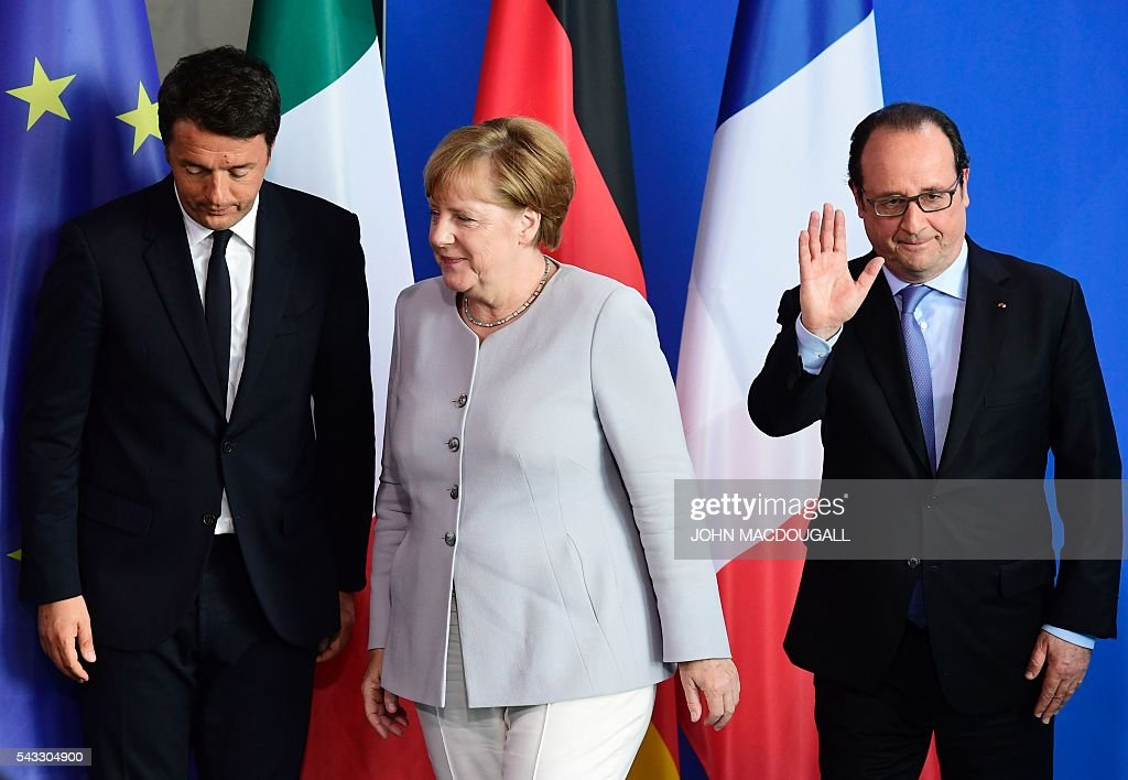 Italy's Prime Minister Matteo Renzi, German Chancellor Angela Merkel and French President Francois Hollande leave after addressing a press conference ahead of talks following the Brexit referendum at the chancellery in Berlin, on June 27, 2016. Britain's shock decision to leave the EU forces German Chancellor Angela Merkel into the spotlight to save the bloc, but true to her reputation for prudence, she said she would act neither hastily nor nastily. / AFP / John MACDOUGALL