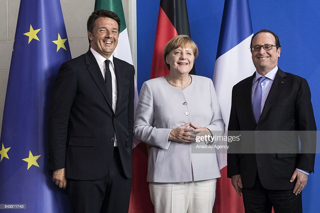 Italy's Prime Minister Matteo Renzi, German Chancellor Angela Merkel and French President Francois Hollande address a press conference ahead of talks following the Brexit referendum at the chancellery in Berlin, on June 27, 2016.