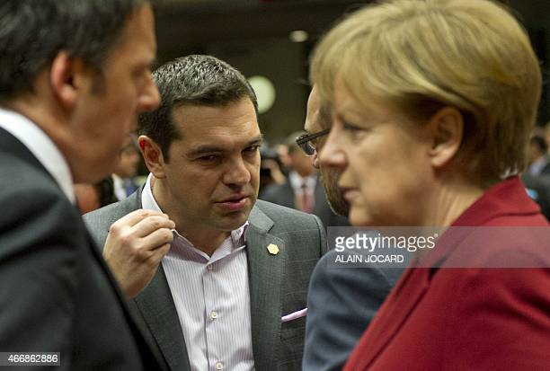 Italy's Prime minister Matteo Renzi Greece's Prime minister Alexis Tsipras European Parliament President Martin Schulz and Germany's Chancellor...