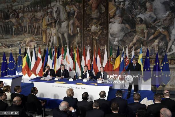 Italy's prime Minister Paolo Gentiloni delivers a speech next to President of the European Commission JeanClaude Juncker EU Parliaments president...