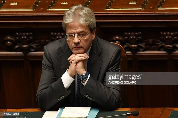 Italy's Prime Minister Paolo Gentiloni is pictured before a confidence vote to the new government on December 13 2016 at the Italian Chamber of...