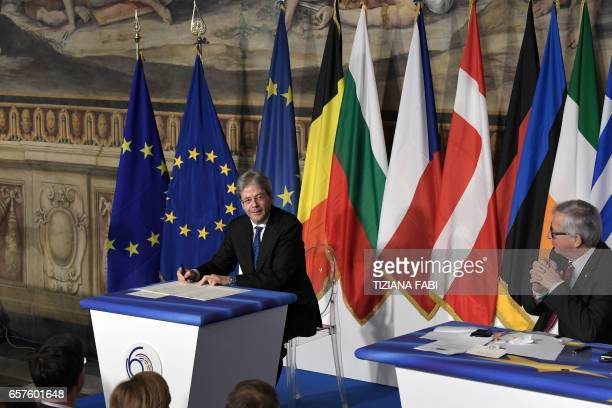 Italy's prime Minister Paolo Gentiloni signs the new Rome declaration with leaders of 27 European Union countries special during a summit of EU...