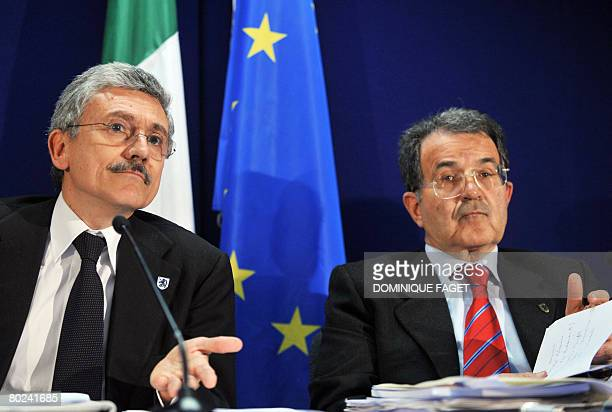Italy's Prime Minister Romano Prodi and Italy's Foreign Minister Massimo D'Alema speak during a press conference after the second session of a...