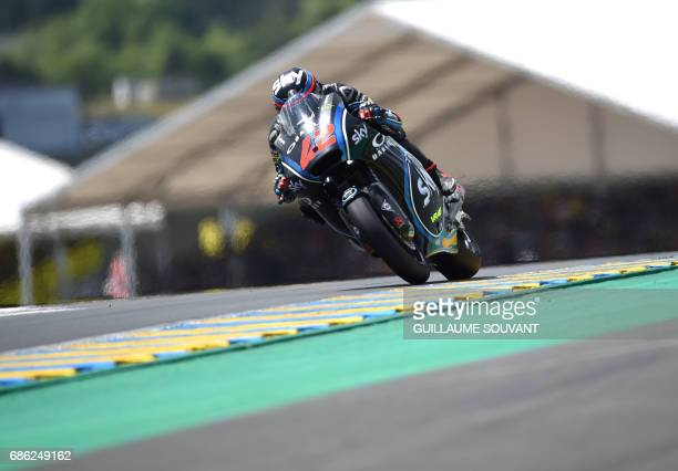 Italy's rider Francesco Bagnaia competes on his Sky Racing Team VR46 N° 42 during the MotoGP of the French motorcycling Grand Prix on May 21 2017 in...