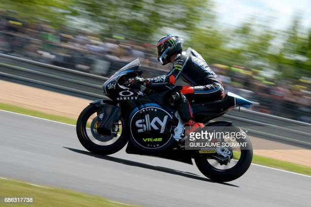 Italy's rider Francesco Bagnaia competes on his Sky Racing Team VR46 N° 42 during a Moto 2 race of the French motorcycling Grand Prix on May 21 2017...