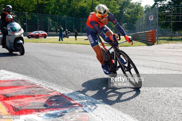Italy's rider of team Bahrain Merida Vincenzo Nibali competes during the Individual timetrial between Monza and Milan on the last stage of the 100th...