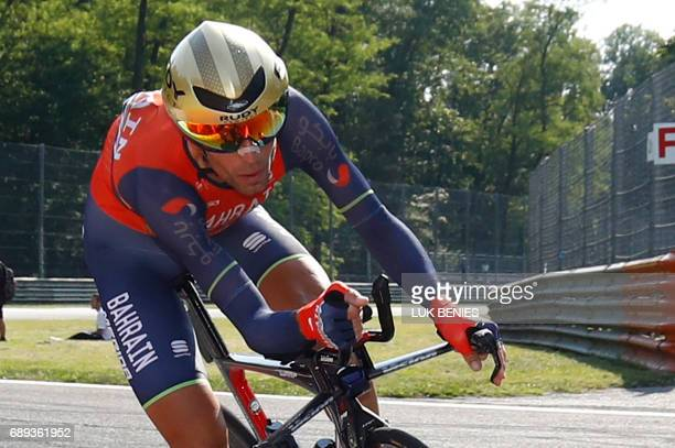 Italy's rider of team Bahrain Merida Vincenzo Nibali competes during the Individual timetrial between Monza and Milan during the last stage of the...