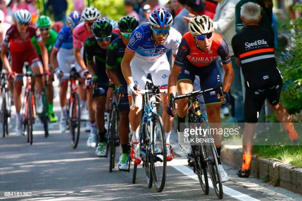 Italy's rider of team Bahrain Merida Vincenzo Nibali France's Thibaut Pinot of team FDJ and Colombia's Nairo Quintana of team Movistar compete during...
