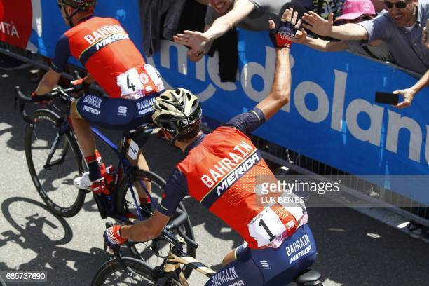 Italy's rider of team Bahrain Merida Vincenzo Nibali greets fans before the start of the 14th stage of the 100th Giro d'Italia Tour of Italy cycling...