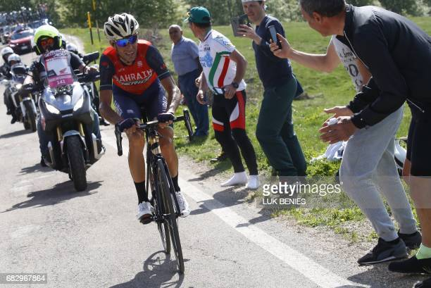 Italy's rider of team Bahrain Merida Vincenzo Nibali rides during the 9th stage of the 100th Giro d'Italia Tour of Italy cycling race from Montenero...