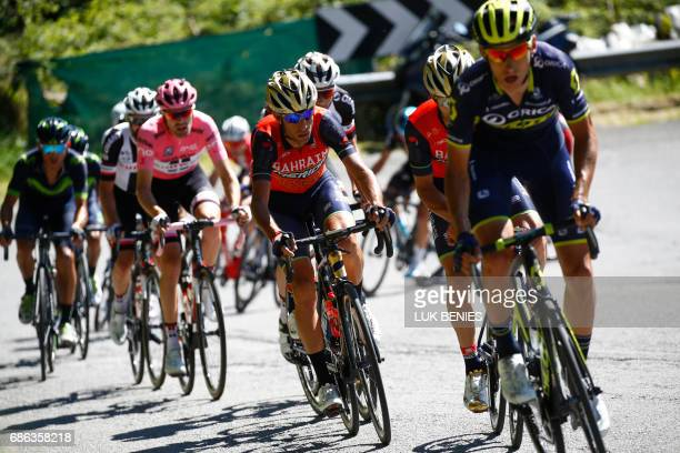 Italy's rider of team Bahrain Merida Vincenzo Nibali rides during the 15th stage of the 100th Giro d'Italia Tour of Italy cycling race from Valdengo...