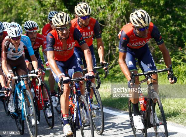 Italy's rider of team Bahrain Merida Vincenzo Nibali rides in the peloton during the 11th stage of the 100th Giro d'Italia Tour of Italy cycling race...
