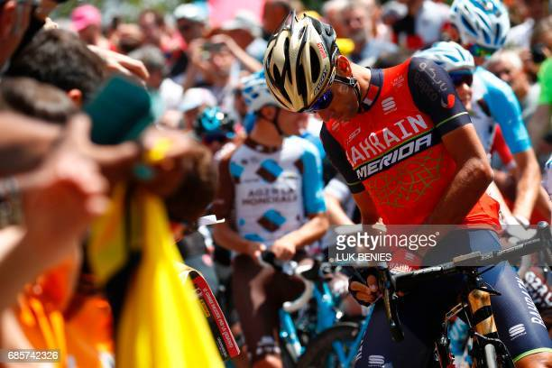 Italy's rider of team Bahrain Merida Vincenzo Nibali signs autographs before the start of the 14th stage of the 100th Giro d'Italia Tour of Italy...