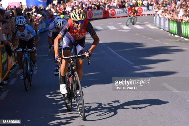 Italy's rider of team Bahrain Merida Vincenzo Nibali sprints to the finish line during the 15th stage of the 100th Giro d'Italia Tour of Italy...