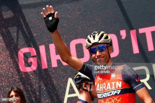 Italy's rider of team Bahrain Merida Vincenzo Nibali waves before the start of the 14th stage of the 100th Giro d'Italia Tour of Italy cycling race...