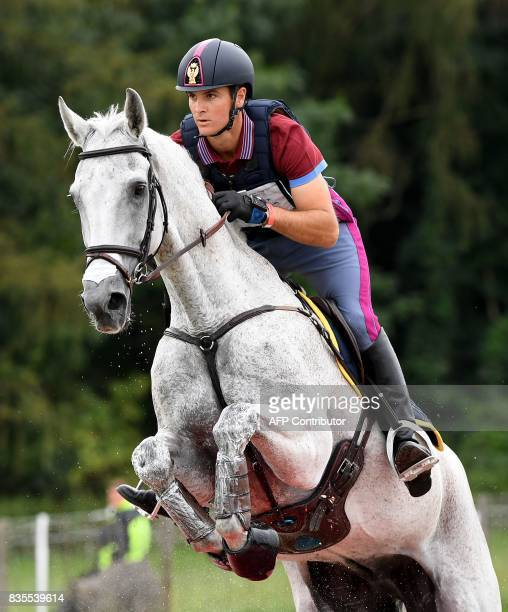 Italy's rider Pietro Romanand his horse Barraduff compete during the cross country competition of the FEI European Eventing Championships in Strzegom...