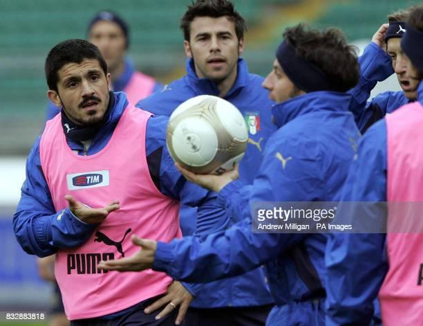 Italy's Rino Gattuso with Alessandro Del Piero during a training session at the San Nicola Stadium Bari Italy