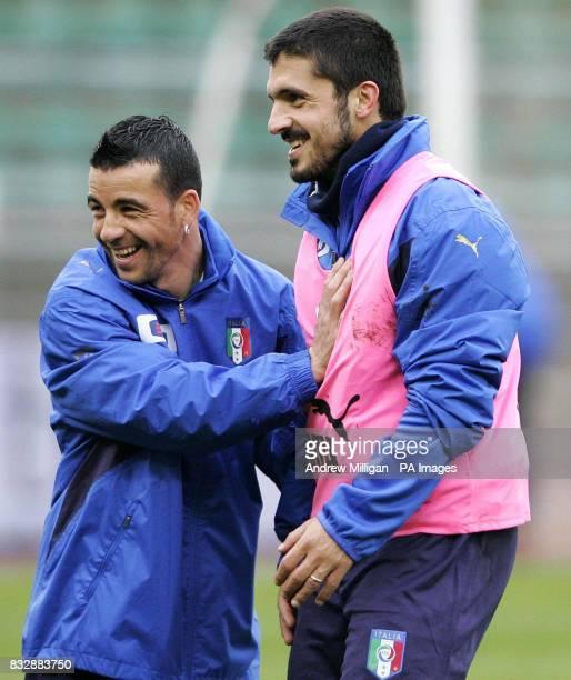 Italy's Rino Gattuso with Antonio Di Natale during a training session at the San Nicola Stadium Bari Italy