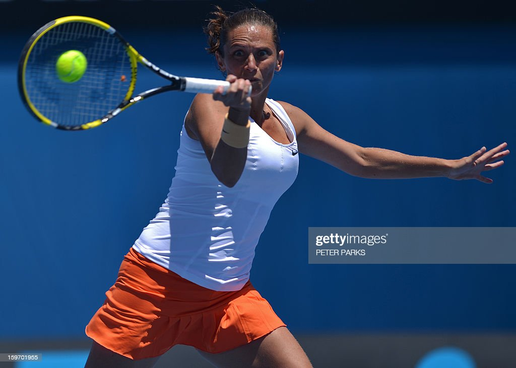 Italy's Roberta Vinci hits a return against Russia's Elena Vesnina during their women's singles match on day six of the Australian Open tennis tournament in Melbourne on January 19, 2013. AFP PHOTO / PETER PARKS IMAGE STRICTLY RESTRICTED TO EDITORIAL USE - STRICTLY NO COMMERCIAL USE